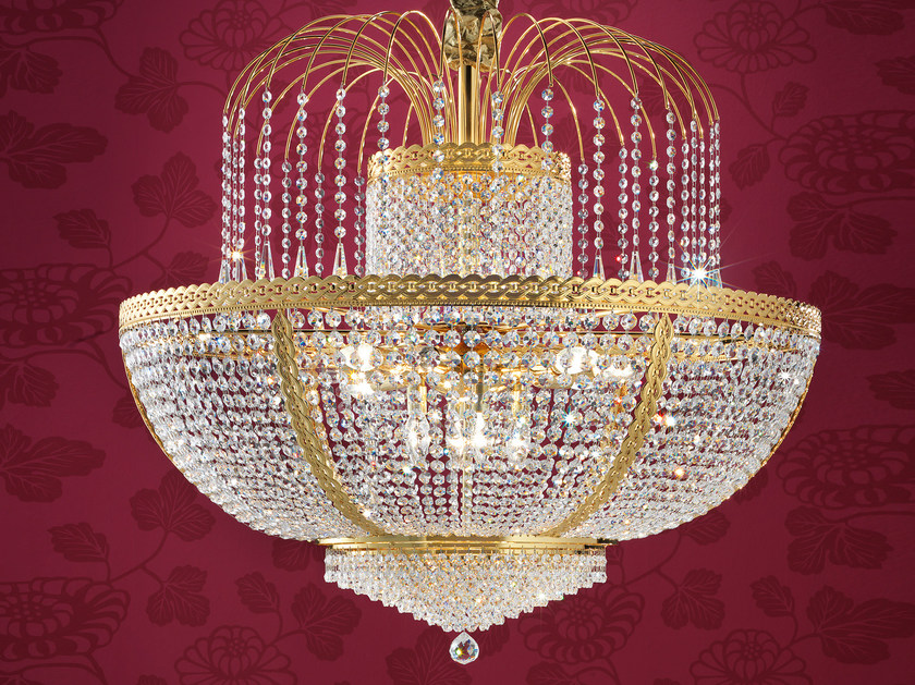 Direct light incandescent brass chandelier with crystals IMPERO VE 831 | Pendant lamp - Masiero