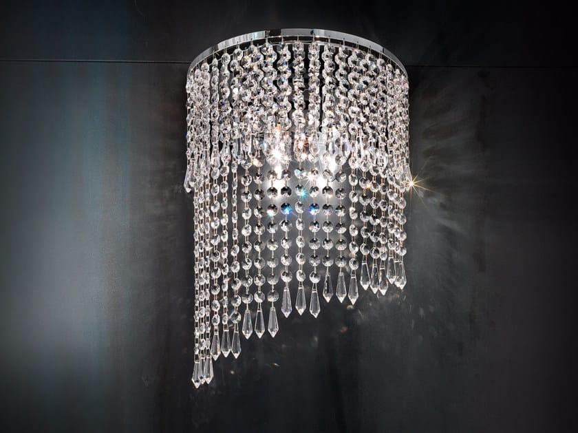 Applique a luce diretta incandescente in metallo cromato con cristalli IMPERO VE 840 | Applique - Masiero