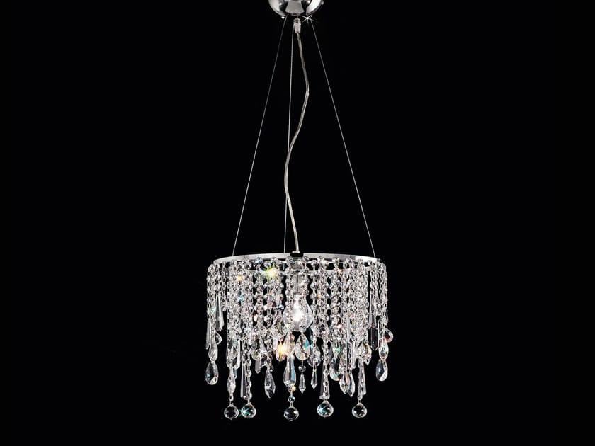 Lampada a sospensione a luce diretta incandescente in metallo con cristalli IMPERO VE 842 - Masiero