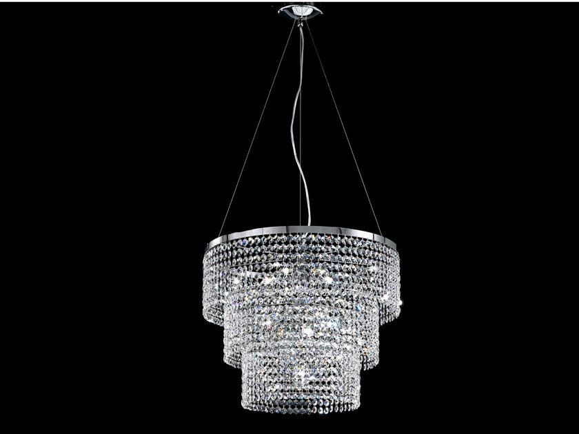 Direct light incandescent chrome plated pendant lamp with crystals IMPERO VE 844 | Pendant lamp - Masiero