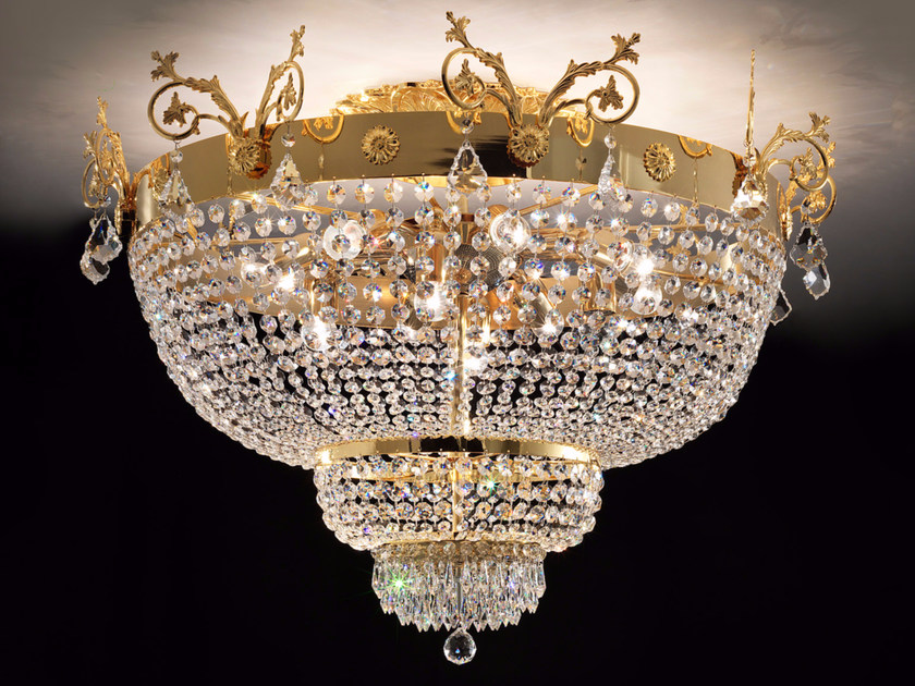 Direct light incandescent metal ceiling lamp with crystals IMPERO VE 849 | Ceiling lamp - Masiero
