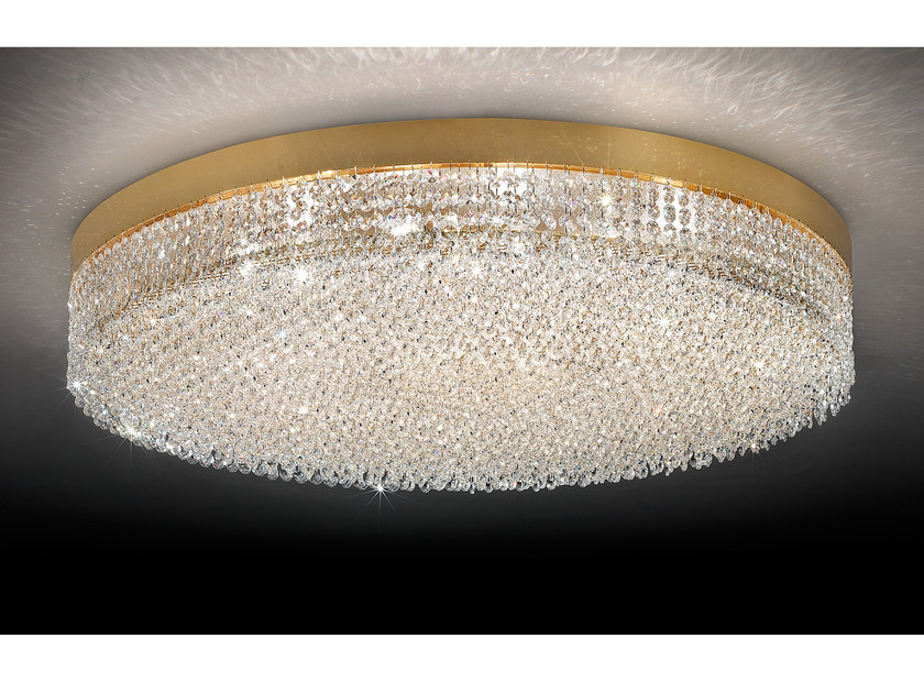 Direct light incandescent chrome plated ceiling lamp with crystals IMPERO VE 897 by Masiero