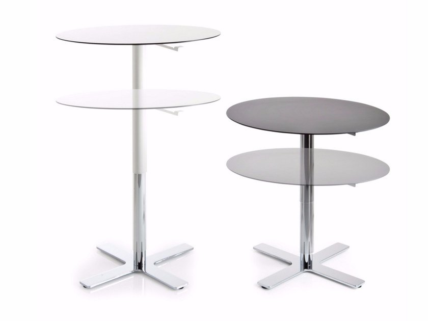 Height-adjustable round table with 4-star base INCROCIO | Height-adjustable table - Luxy