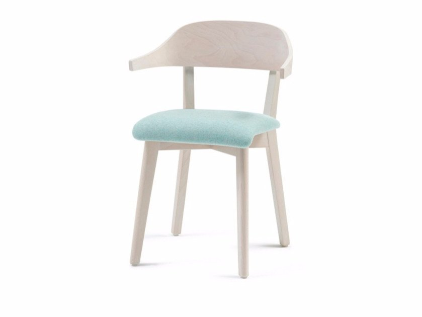 Upholstered fabric chair with armrests INGRID 03 + A - Z-Editions