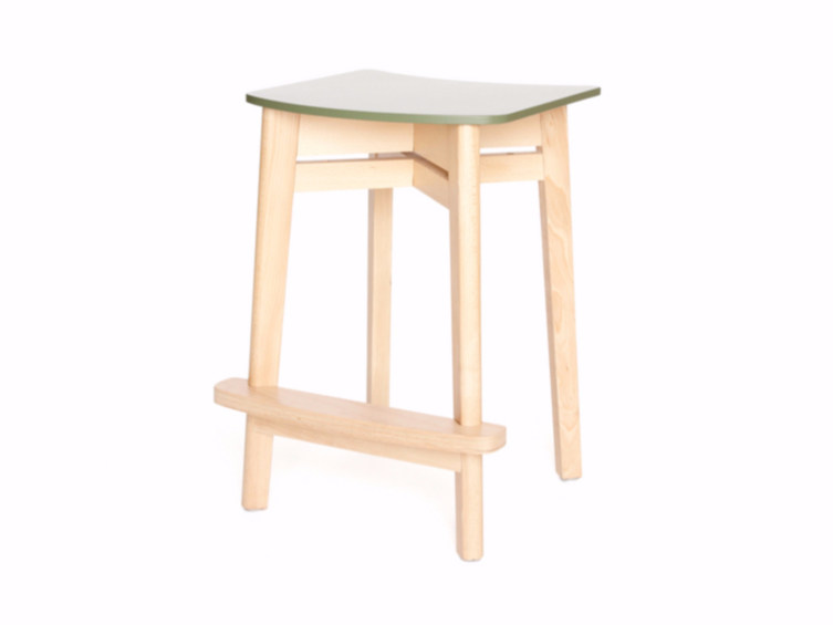 Wooden stool with footrest INGRID K 62 by Z-Editions