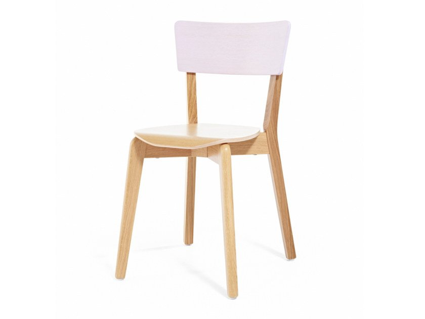 Stackable lacquered wooden chair INGRID ST - Z-Editions