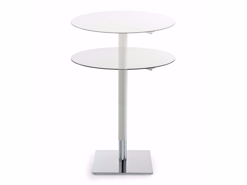 Height-adjustable round MDF table INQUADRO | Height-adjustable table - Luxy