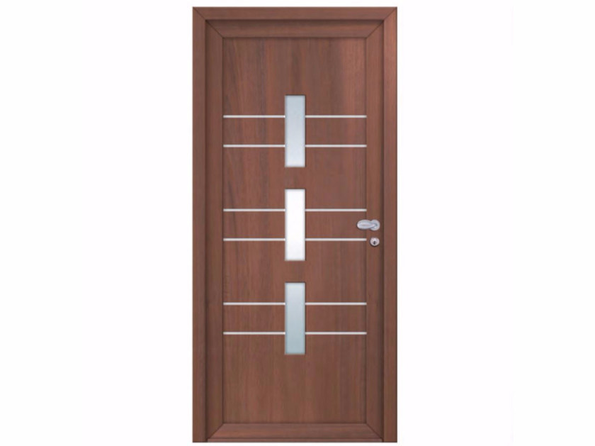 Glazed exterior wood-product entry door INTRO UPPSALA - FOSSATI PVC