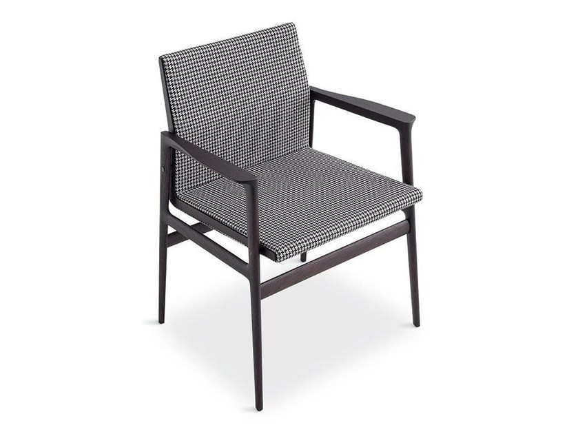 Upholstered fabric chair with armrests IPANEMA | Chair with armrests - Poliform