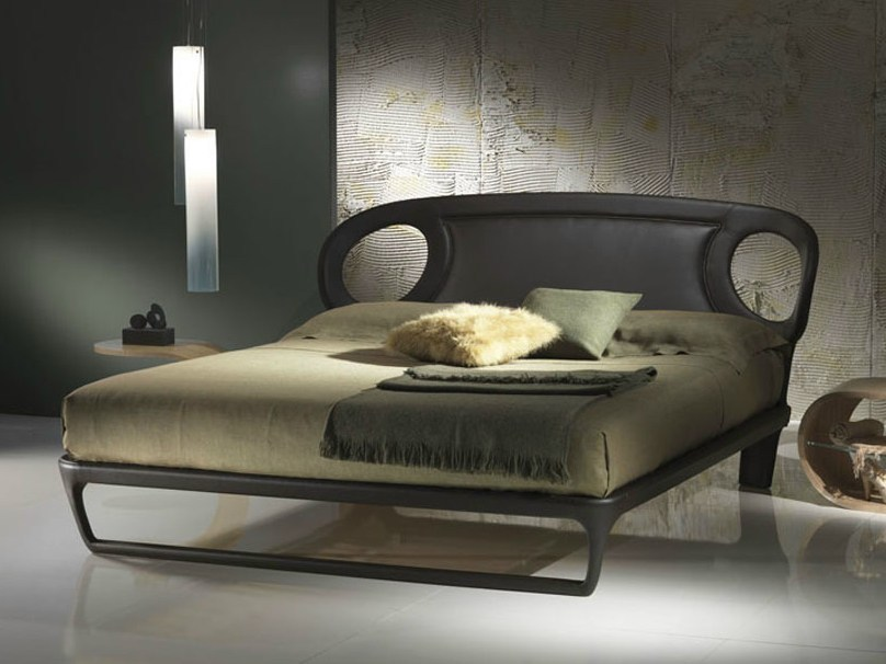 Leather double bed IRIDE 14-B - Carpanelli Contemporary
