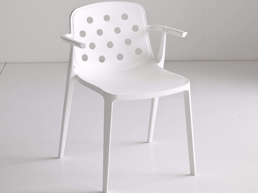 Stackable technopolymer chair with armrests ISIDORA | Chair with armrests - GABER