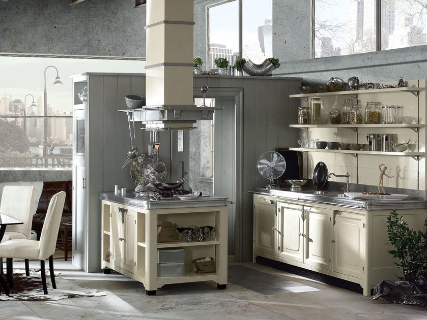 Fitted wood kitchen ISLAMORADA - COMPOSITION 03 - Marchi Cucine