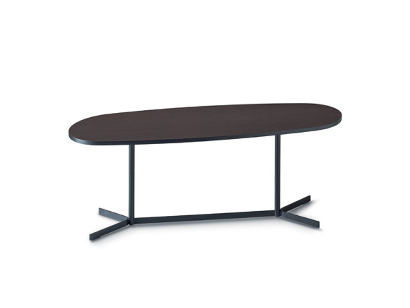 Low oval coffee table with 4-star base ISLAND - arflex