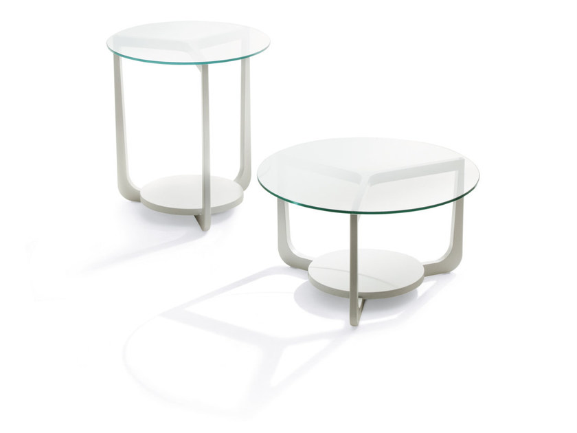 Low wood and glass coffee table ISOLA | Lacquered coffee table - Pacini & Cappellini
