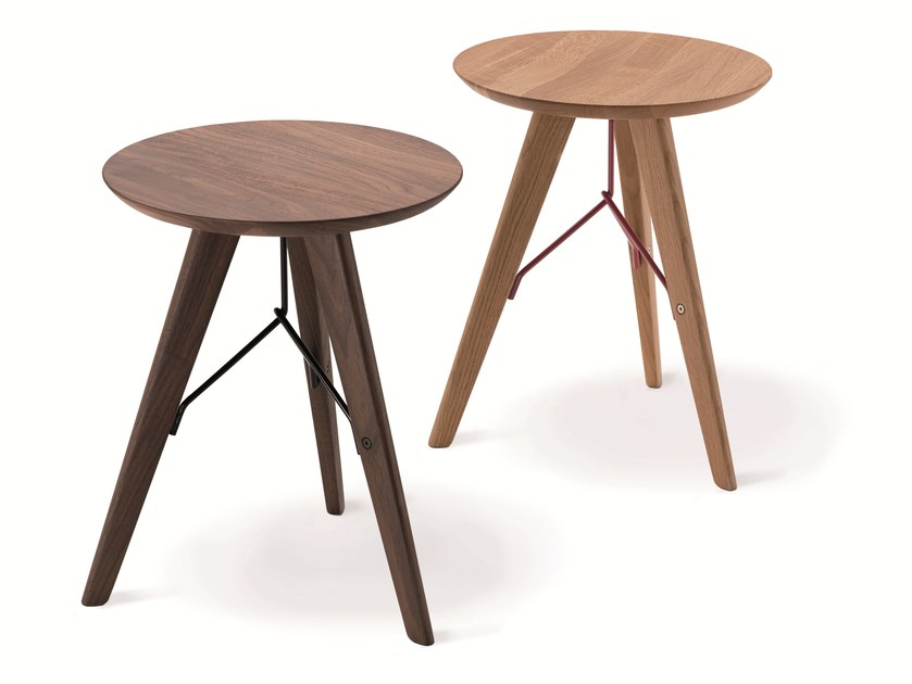 Low solid wood stool IVO 2285 by Zanotta