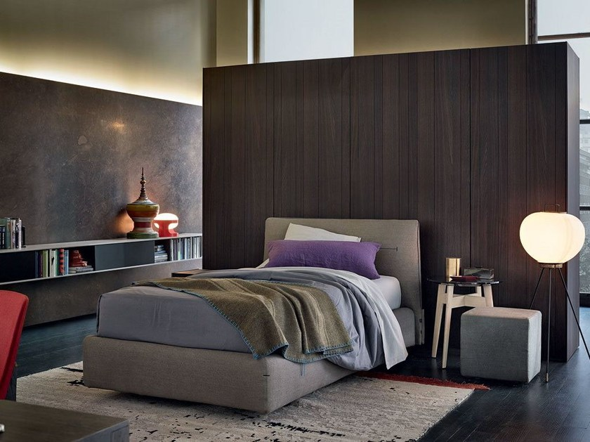 Fabric single bed with upholstered headboard JACQUELINE | Single bed - Poliform