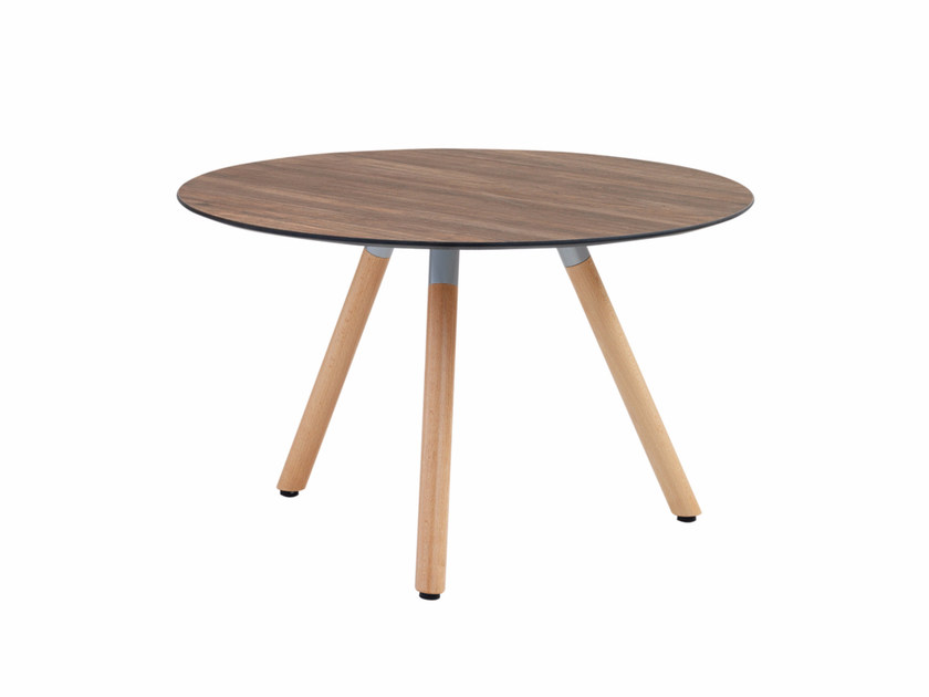 Round coffee table with wooden legs Jet 522T - Metalmobil