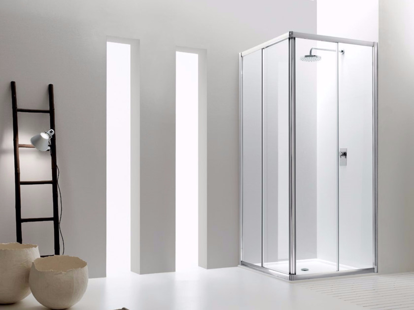Corner glass shower cabin with sliding door JOLLY - 1 - INDA®