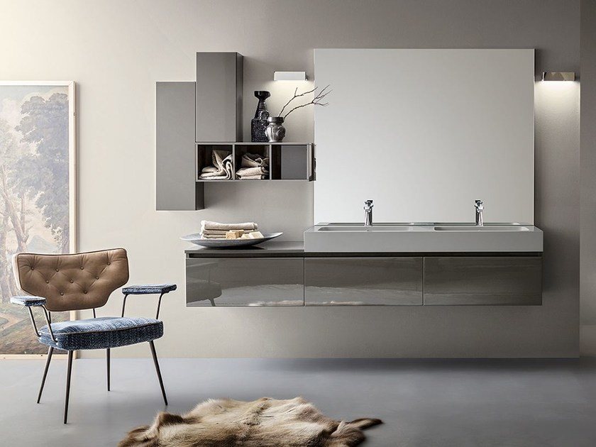 Double lacquered wall-mounted vanity unit JOY NEW 06/07 by Cerasa