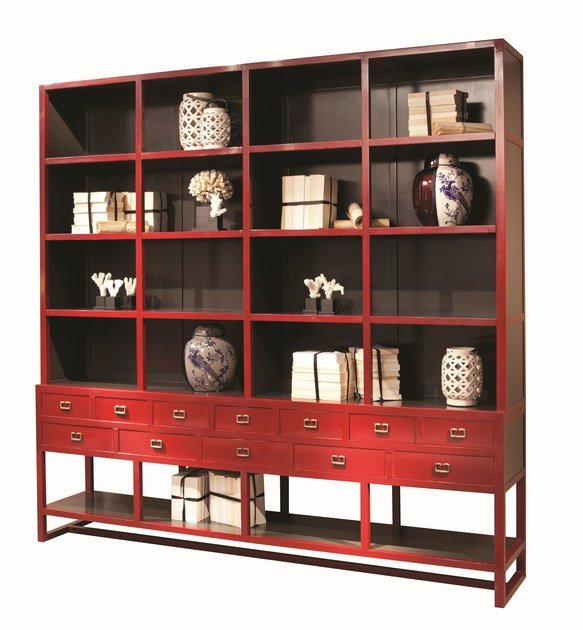 Open wooden bookcase with drawers JULES by ROCHE BOBOIS