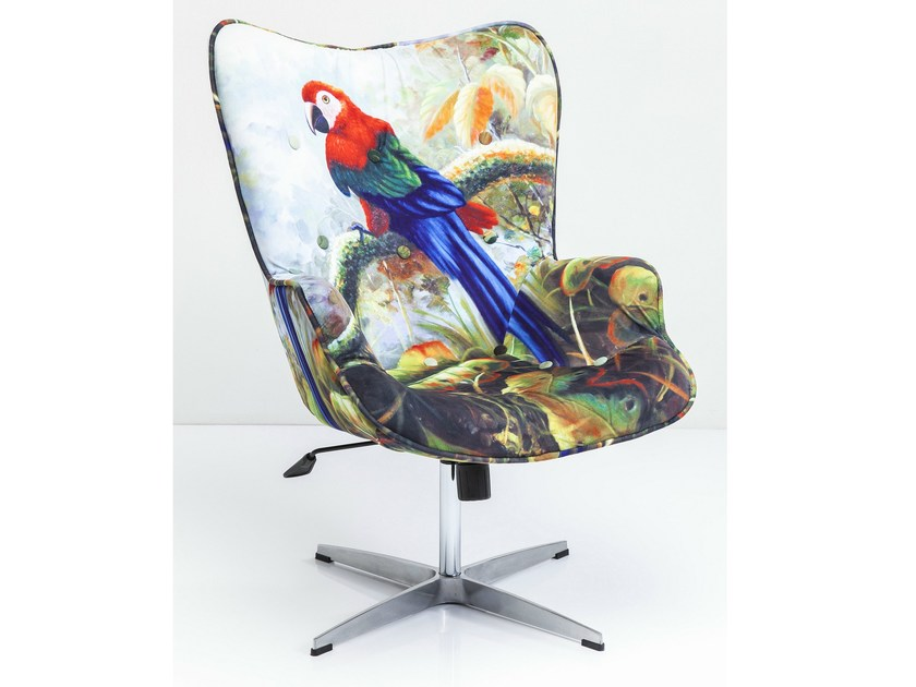 Swivel fabric armchair with armrests JUNGLE FEVER - KARE-DESIGN