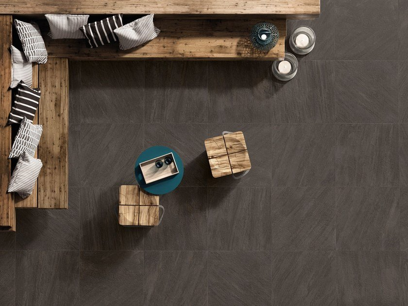 Anti-slip frost proof porcelain stoneware flooring with stone effect K2 SOURCE DARK - CERAMICHE KEOPE