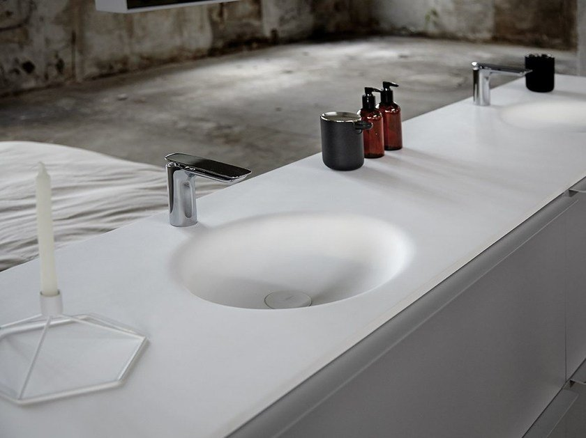 Single Solid Surface® washbasin countertop KA | Solid Surface® washbasin countertop - INBANI