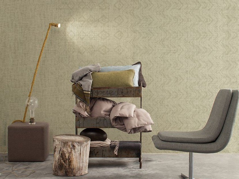 Motif wallpaper with textile effect KAFKA - Inkiostro Bianco