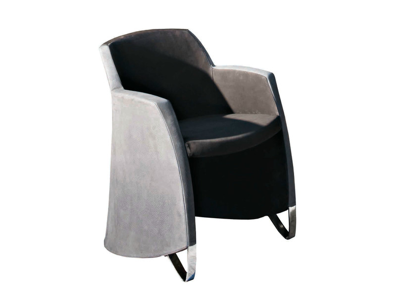 Upholstered velvet easy chair with armrests KAL - Capital Collection by Atmosphera