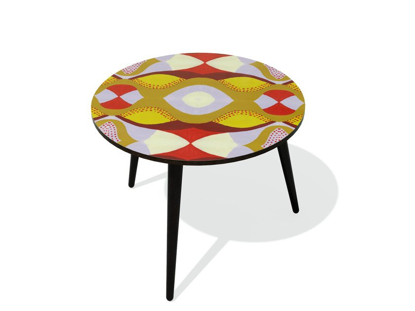 Round beech wood and HPL coffee table KARMA 20 M - Bazartherapy