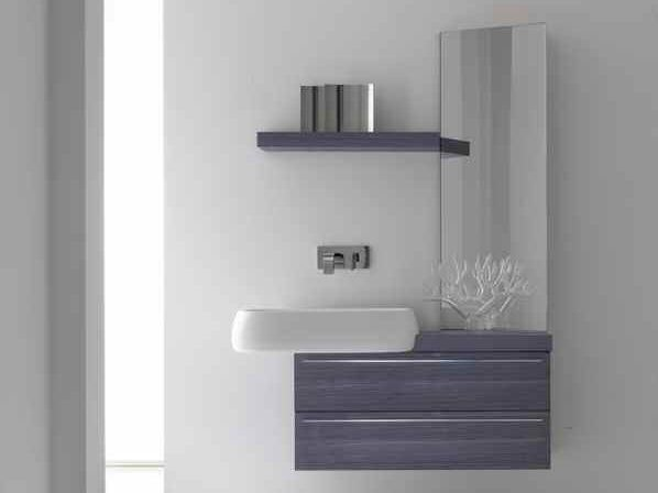 Lacquered single vanity unit KARMA - COMPOSITION 28 - Arcom