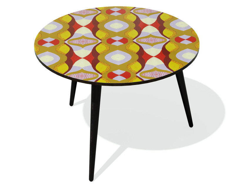 Round beech wood and HPL side table KARMA 20 L - Bazartherapy