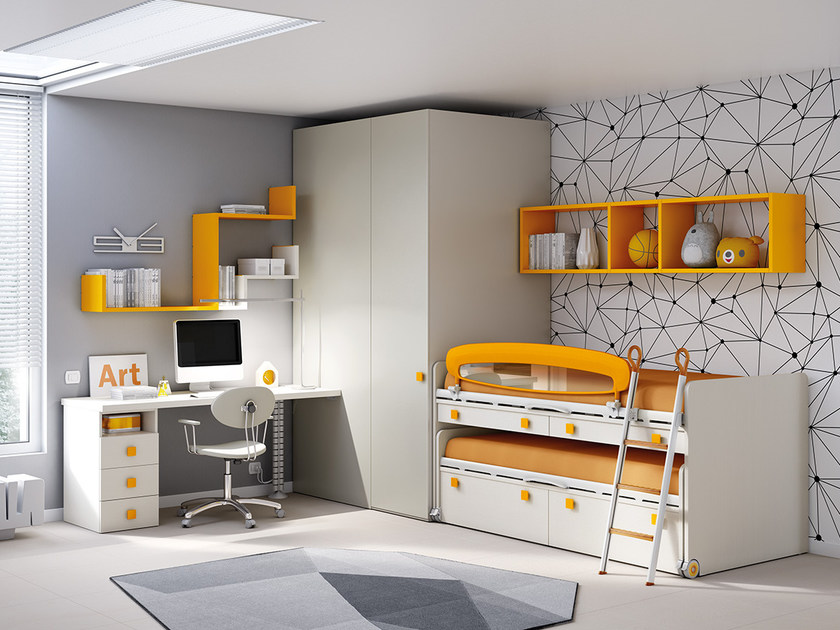 Fitted wooden teenage bedroom with pull-out bed KC 203 | Bedroom set by Moretti Compact