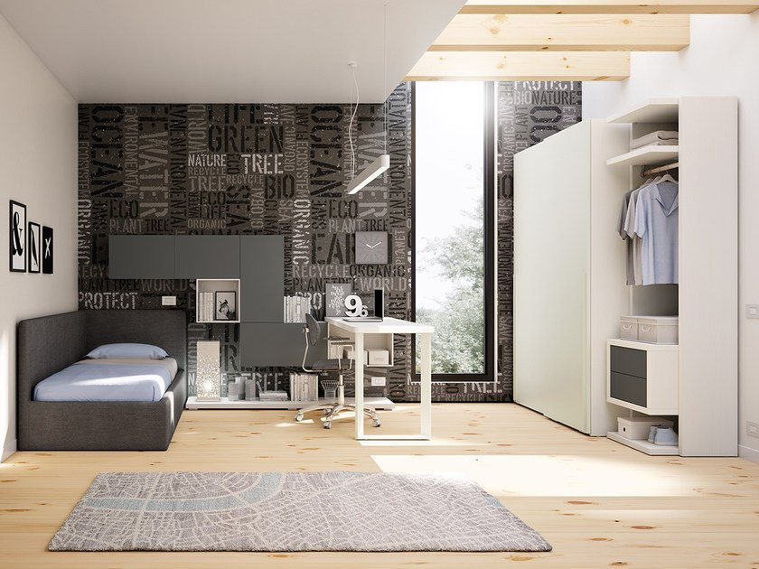 Fitted wooden teenage bedroom KC 204 | Bedroom set by Moretti Compact