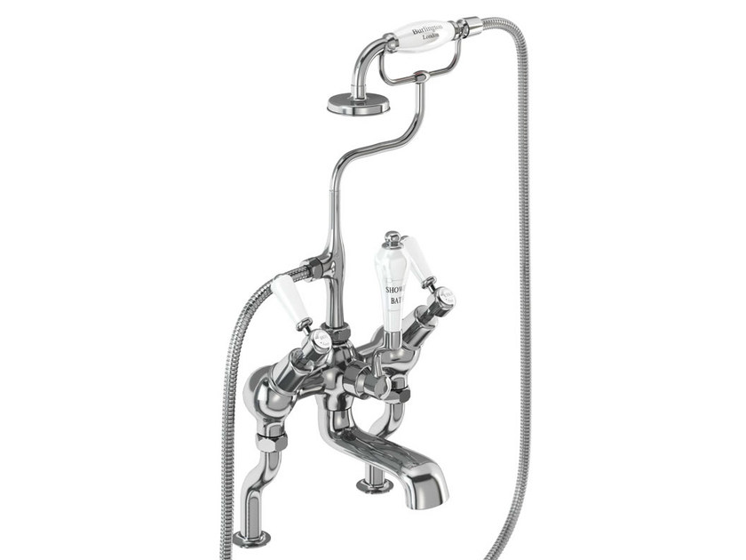 2 hole chromed brass bathtub tap with hand shower KENSINGTON | Chromed brass bathtub tap - Polo