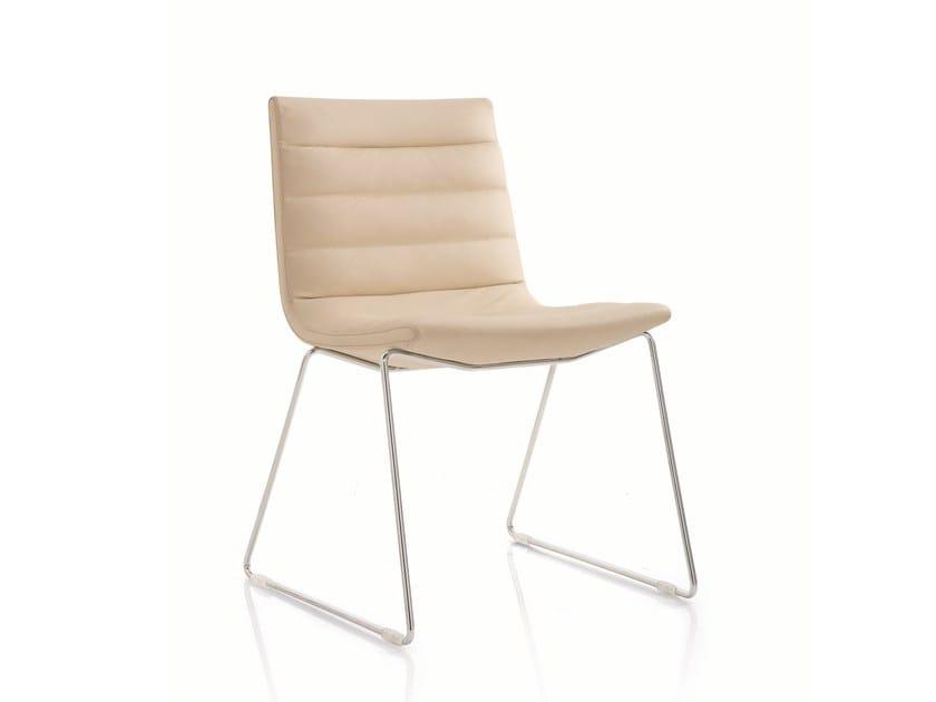 Sled base leather chair KEY | Sled base chair - Emmegi