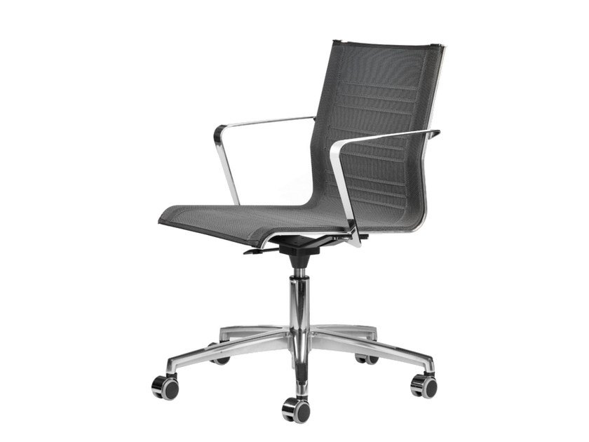 Mesh task chair with 5-Spoke base with armrests with casters KEYPLUS 3152 - TALIN