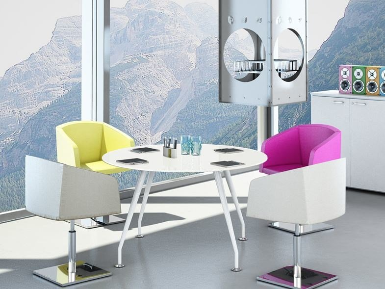 Round melamine-faced chipboard meeting table KINESIS KTR - Arcadia Componibili - Gruppo Penta