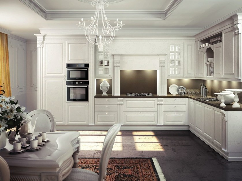 Lacquered wooden fitted kitchen MICHELANGELO | Kitchen by Oikos Cucine