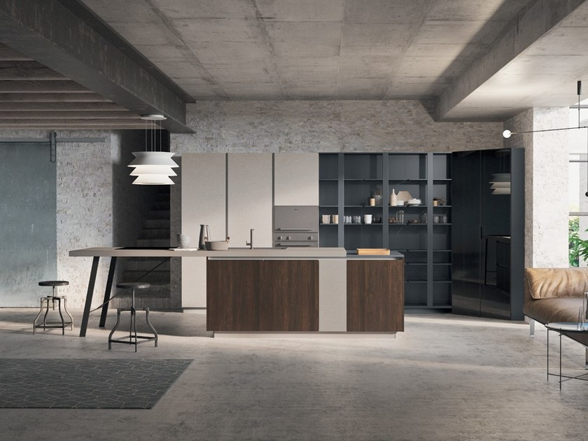 Lacquered wooden kitchen with island with handles SPRING URBAN | Kitchen with island - DIBIESSE
