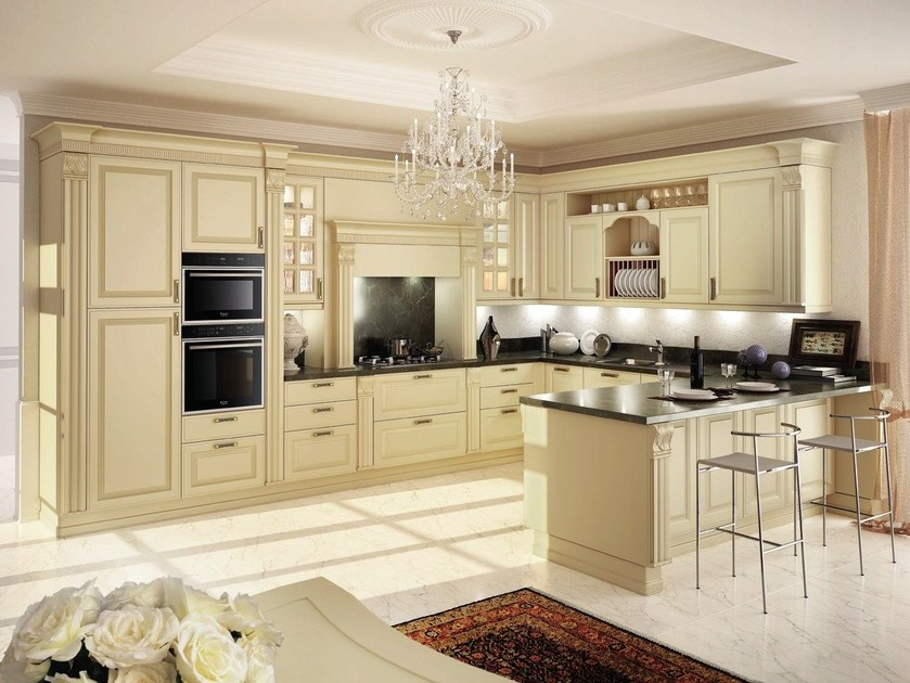 Lacquered wooden fitted kitchen with peninsula MICHELANGELO | Kitchen with peninsula - Oikos Cucine