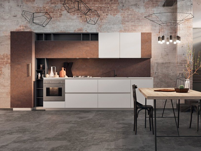 Lacquered linear wooden kitchen without handles SPRING URBAN | Kitchen without handles - DIBIESSE