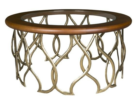 Round wood and glass coffee table KOROA by Hamilton Conte Paris