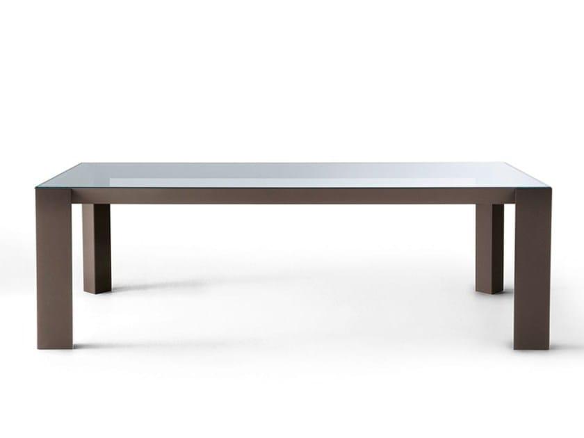 Rectangular glass and aluminium table KOY | Rectangular table - Gallotti&Radice