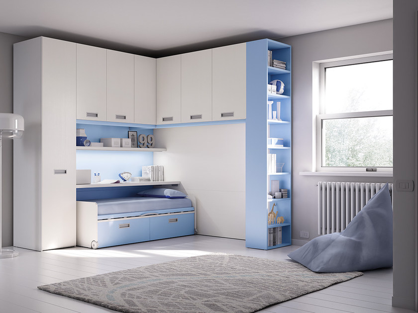 Fitted wooden bedroom set with bridge wardrobe for boys KP 204 | Bedroom set by Moretti Compact