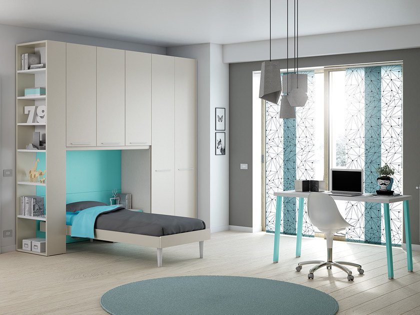 Fitted wooden teenage bedroom with bridge wardrobe KP 206 | Bedroom set - Moretti Compact