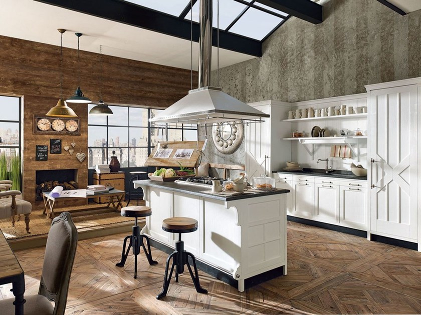 Cucina componibile laccata con isola kreola composizione - Marchi group cucine prezzi ...