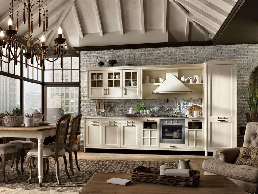 Fitted wood kitchen KREOLA - COMPOSITION 05 - Marchi Cucine
