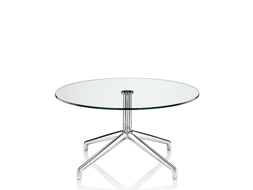 Round coffee table with 4-star base KRUZE | Glass coffee table by Boss Design