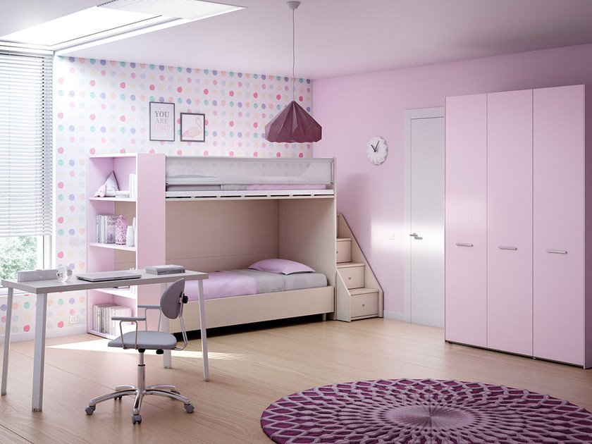 Fitted bedroom set with bunk beds for girls KS 201 | Bedroom set - Moretti Compact